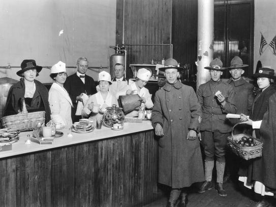 World War I soldiers visit a Red Cross canteen at the
