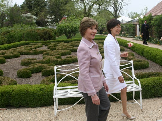First Lady Laura Bush with Akie Abe, the wife of Japanese