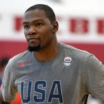 Kevin Durant USA Basketball Men's National Team stands on the court during a practice session at the Mendenhall Center on July 18, 2016 in Las Vegas, Nevada.