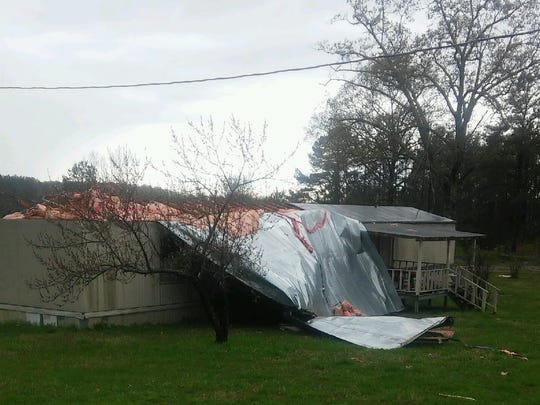 The roof was torn off a vacant mobile home at 945 Roby Road in Chester County on Thursday.