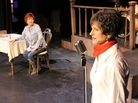 "Louise Awalt plays Louise Segar and Dedra Knox plays Patsy Cline in Angelo Civic Theatre's ""Always...Patsy Cline."""