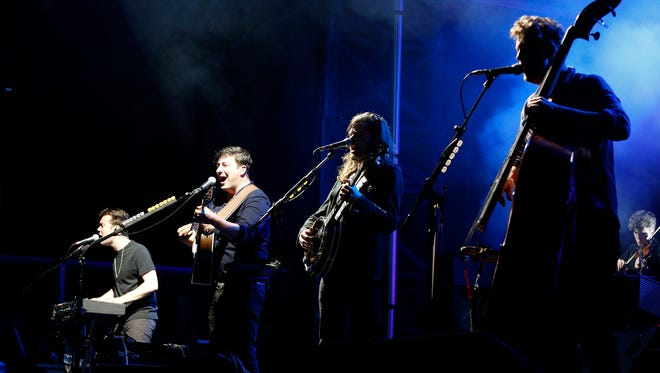 Mumford and Sons entertains the crowd at the Gentlemen Of The Road Stopover Saturday, June 20, 2015, in Waverly, Iowa.