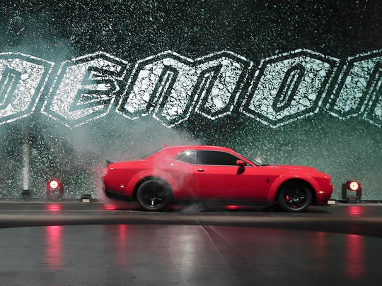 The 2018 Dodge Challenger SRT Demon is unveiled during a preview for the New York International Auto Show in April 2017 in New York.