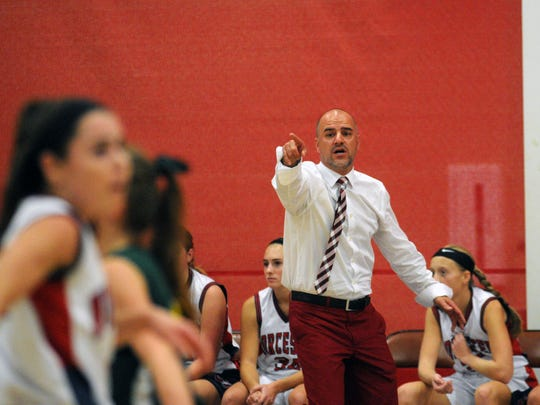 First-year head coach Scot Dailey yells out directions to Worcester Prep against Broadwater Academy on Monday, Nov. 30.