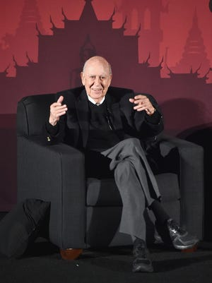"""Actor Carl Reiner speaks onstage during """"An Afternoon with Carl Reiner - Dead Men Don't Wear Plaid"""" during day three of the TCM Classic Film Festival 2016 on April 30, 2016, in Los Angeles. Reiner died Monday, June 29, 2020, at 98."""