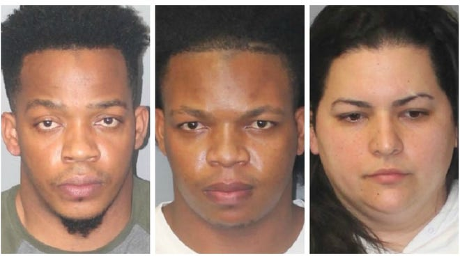 From left, Edrian Aybar-Santana, Rimanuel Aybar-Santana and Olga Garcia, were arrested in Brockton on fentanyl trafficking charges, Wednesday, Oct. 21, 2020.
