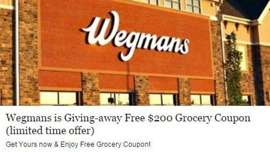 The $200 Wegmans coupon giveaway on Facebook is a scam.