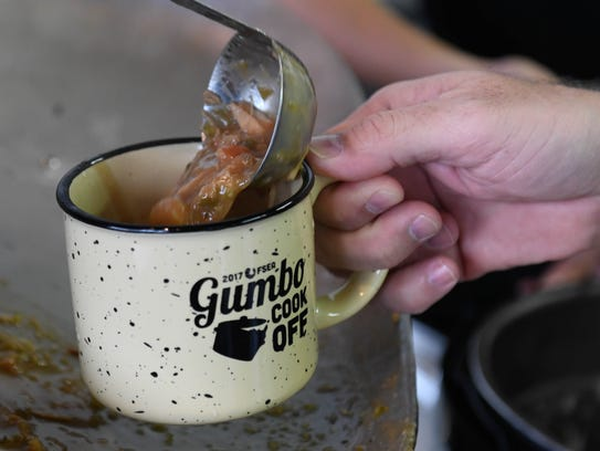 Gumbo being served up at the Fourth Annual Gumbo Cook-Off