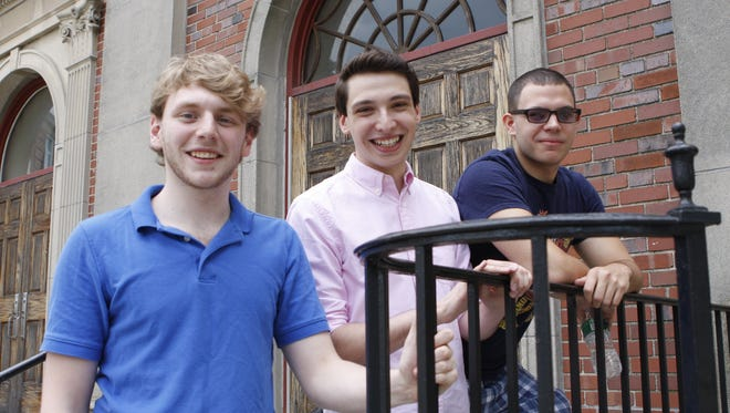 "The founders of Happy Accident Media got to know each other as members of the Eastchester High School's Players' Club. From left, Eric Elson, Brandon Salerno and John Cerasi. Their first YouTube video, ""Coming Out,"" deals in a comic way with Salerno's decision to come out as gay."