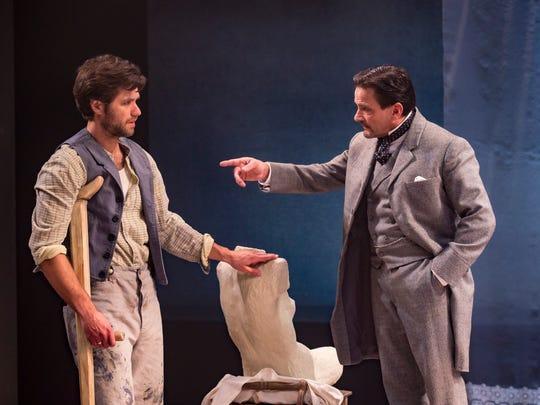 "Marcus Truschinski (left) and Jim DeVita face off in ""Creditors"" at American Players Theatre,"