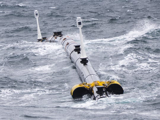 A portion of The Ocean Cleanup Project's passive system,