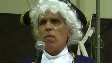 Ken Krefft at a prior legislative session. On Thursday, Krefft collapsed while reciting the Declaration of Independence dressed as Thomas Jefferson at state Capitol, a tradition of his.
