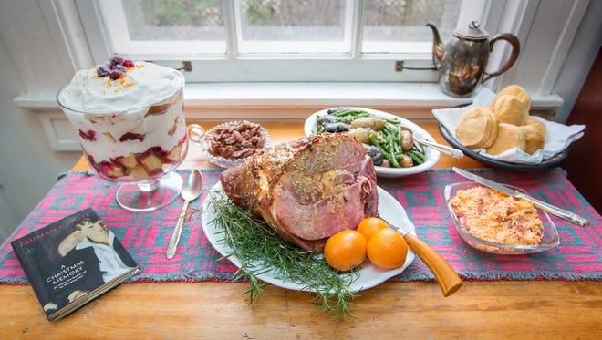 """Mustard Glazed Ham with Pimiento Cheese, Green Bean and Fingerling Potato Salad, Cranberry Orange Cream Trifle, and Honey Roasted Pepper Pecans make a perfect meal for a book discussion of Truman Capote's """"A Christmas Memory."""""""