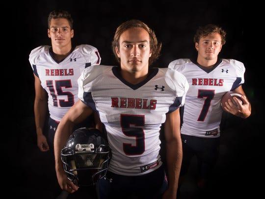 West High School football players Noah Hoxie, Nathan