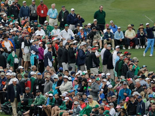 Rickie Fowler hits a drive on the third hole during the third round at the Masters golf tournament Saturday, April 7, 2018, in Augusta, Ga. (AP Photo/David J. Phillip)
