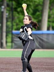 Cedar Grove pitcher Mia Faieta. IHA defeated Cedar Grove 3-0 in the semifinals of the Tournament of Champions in South Orange, NJ on Wednesday, June 7, 2017.