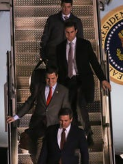 U.S. Rep. Matt Gaetz, second from bottom, exits Air Force One at Pensacola Naval Air Station on Dec. 8, 2017, after traveling with President Donald Trump from Washington, D.C., to the president's rally at the Pensacola Bay Center.