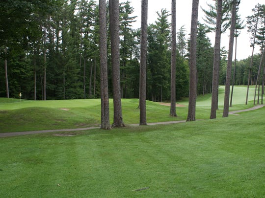 A shot of the eighth green from the ninth tee.