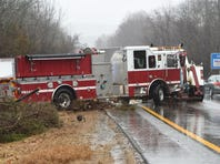 The scene of the fire truck crash on Interstate 84 East in Hopewell Junction.