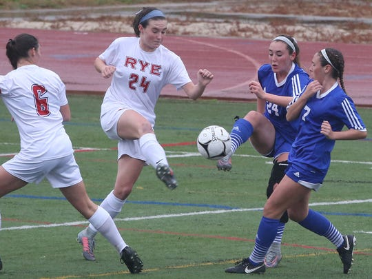Pearl River defeated Rye 1-0 in 4OT  in the Section 1 girls soccer Class A championship game at Arlington High School in Freedom Plains  Oct. 29, 2017.
