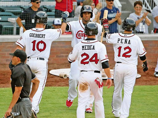 Rudy Gutierrez—El Paso Times Jake Goebbert, 10, left, gets high fives after he hit a three run homer that brought in Tommy Medica, 24, and Ramiro Peña, 12, during the first game of a double header against the Albuquerque Isotopes Saturday at Southwest University Park. The Chihuahuas took the first game 4-0.