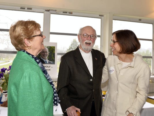 From left, Lebanon County Democratic Party Chairman Lois Herr smiles as Paul Heise of Mount Gretna, professor emeritus of economics at Lebanon Valley College, jokes with Judge Alice Beck Dubow, a candidate for Superior Court, at the annual Democratic Committee Spring Fling held at the Fairview Golf Course-QT Catering on Friday evening.