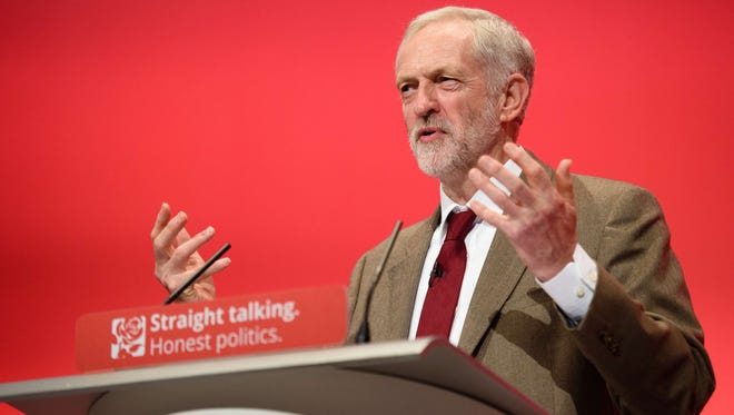 British Labour Party leader Jeremy Corbyn makes his keynote address on the third day of the annual Labour Party Conference in Brighton, England, on Sept. 29, 2015.