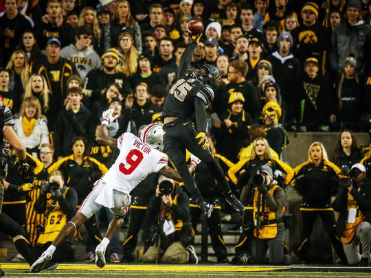 Iowa junior cornerback Josh Jackson makes a spectacular interception preventing Ohio State from scoring a touchdown at Kinnick Stadium on Saturday, Nov. 4, 2017, in Iowa City.