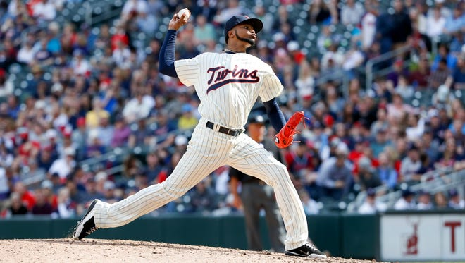 Minnesota Twins starting pitcher Ervin Santana (54) delivers a pitch during the 9th inning against the Chicago White Sox at Target Field. Minnesota Twins won 6-0.