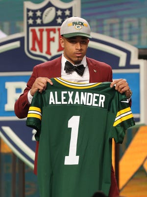 Jaire Alexander as he is selected as the number eighteen overall pick to the Green Bay Packers in the first round of the 2018 NFL Draft at AT&T Stadium.