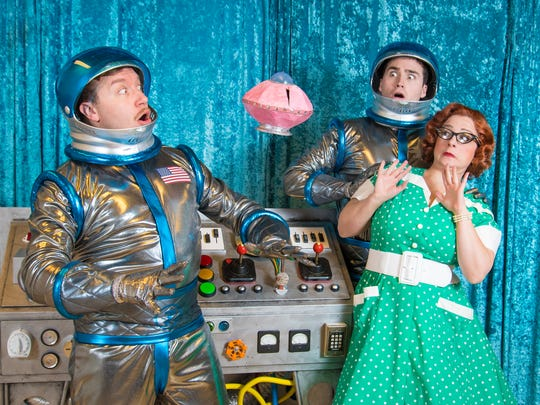 "Rick Pendzich (left), Matt Frye and Meghan Randolph cope with alien invaders in ""Zombies From the Beyond,"" performed by Skylight Music Theatre."