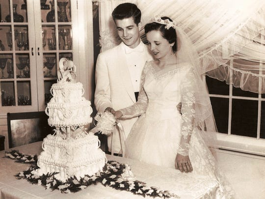 Glenn and Dianne Fritsch of Livonia on their wedding day in 1956