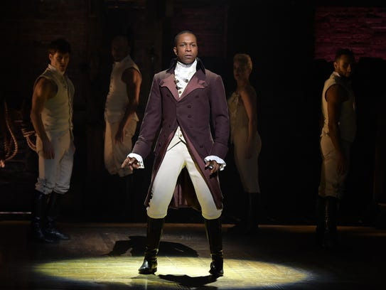"Leslie Odom, Jr. performs on stage as ""Hamilton's"""