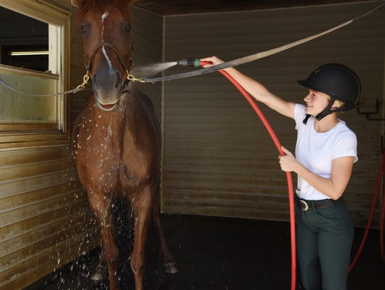 Fionna Henderson, 18, of Pawling cleans up her horse