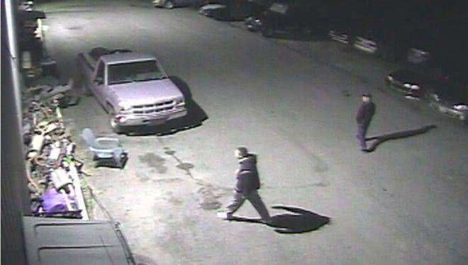 This image from a surveillance camera shows suspects in a larceny at 60 Midas Drive in South Burlington on June 11, 2016.