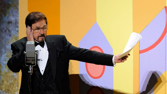 """Gary Owens performs in a skit at the 60th Primetime Emmy Awards in Los Angeles on Sept. 21, 2008. Owens, best known for announcing """"Rowan and Martin's Laugh-In,"""" died, Thursday, Feb. 12, 2015 at his Los Angeles-area home. He was 80 years old."""