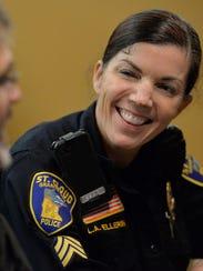 St. Cloud Police Lt. Lori Ellering talks with a St.