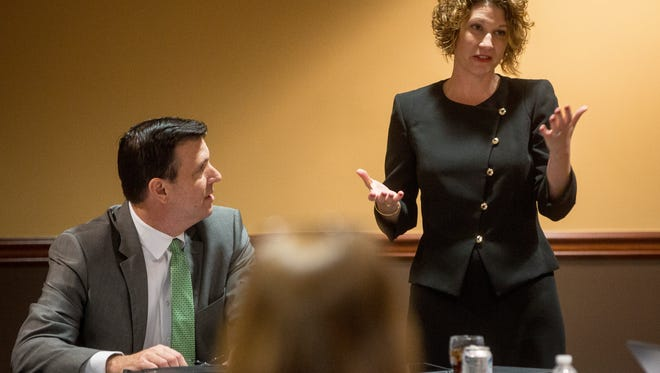 Jennifer Bott, Dean of the Miller College of Business, talks with board members at a trustees meeting on March 14 at the Forum Room in Ball State's L. A. Pittenger Student Center.