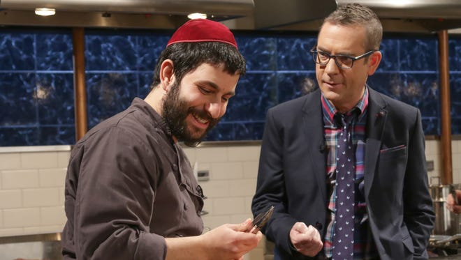 """Rabbi Hanoch Hecht, of Rhinebeck, with """"Chopped"""" host Ted Allen, competes in the latest episode of the Food Network competition."""