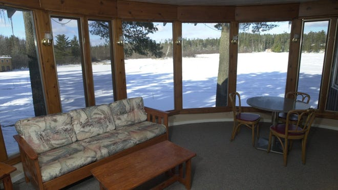 A pristine winter scene outside one of the 11 cottages at Diftwood Lodge on Mercer Lake near Minocqua.