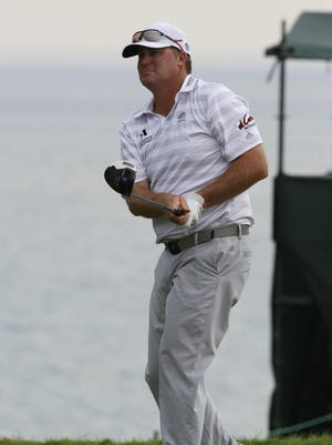 Ryan Helminen watches his shot during the 2015 PGA Championship at Whistling Straits. Helminen will play in his third consecutive PGA Championship starting Thursday.