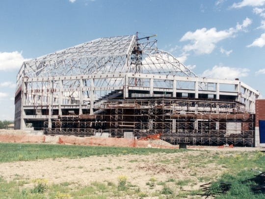 Worthen Arena is shown under construction around 1990.