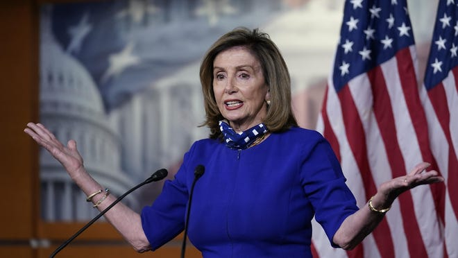 Speaker of the House Nancy Pelosi, D-Calif., meets with reporters at the Capitol in Washington, Thursday, Aug. 27, 2020.