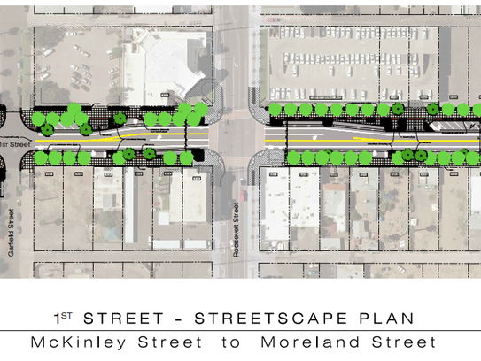An artist's renderings of a plan for First Street from