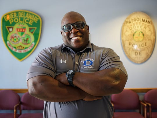 Cpl. Demetrius Stevenson of the Dover Police Department. Stevenson is a school resource officer at Dover High School.