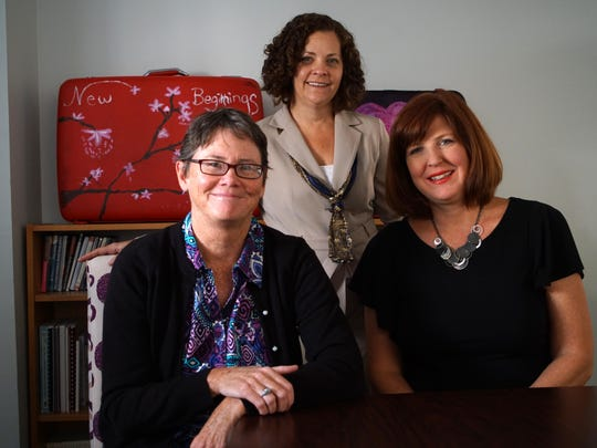 Delaware Coalition Against Domestic Violence officials (from left) Sue Ryan, executive director; Mariann Kenville-Moore, director of advocacy and policy; and Noel Duckworth, director of training and prevention, are shown.