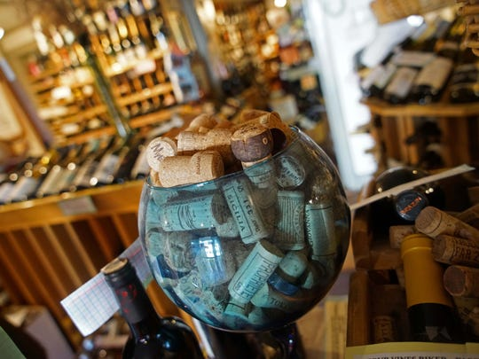 A decorative bowl of old wine corks at Collier's Centreville Fine Wine, Spirits & Beer.