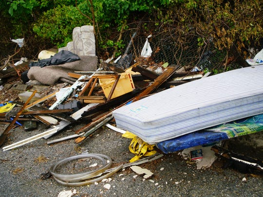 Illegally dumped trash along Egdemoor Ave. near Governor Printz Blvd.