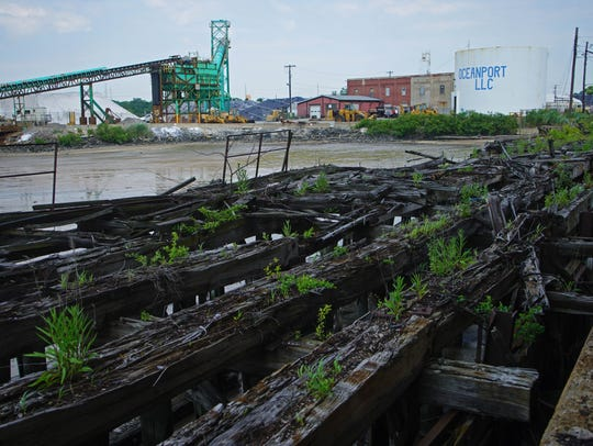 The old railroad lines that lead out the shipping docks