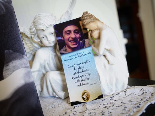 A memorial bookmark for 23-year-old Vincente Tambourelli after he died from a heroin overdose.